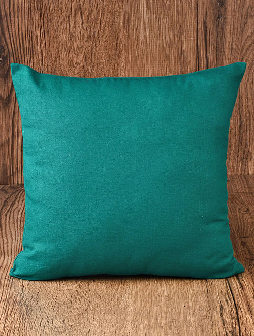 Green Solid Cotton Cushion Cover 16in x 16in