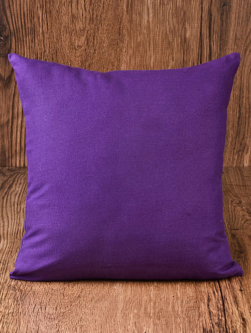 Purple Solid Cotton Cushion Cover 16in x 16in