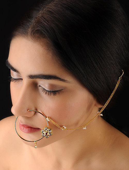 Buy Classic Ivory Pink Nose Ring Online At Jaypore Com