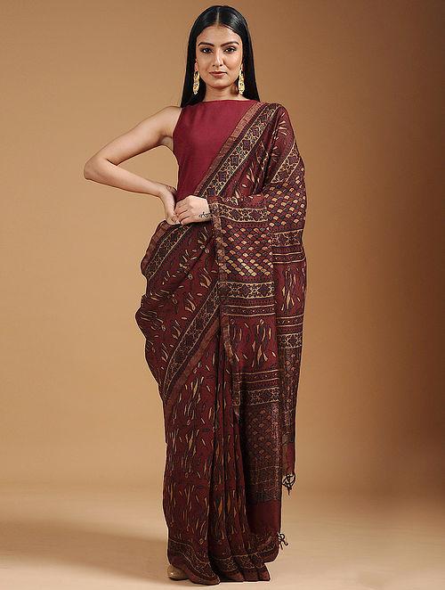 Red-Yellow Ajrakh-printed Cotton Silk Saree with Zari