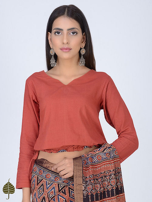 Rust Natural Dyed Tie-Up Cotton Blouse by Jaypore