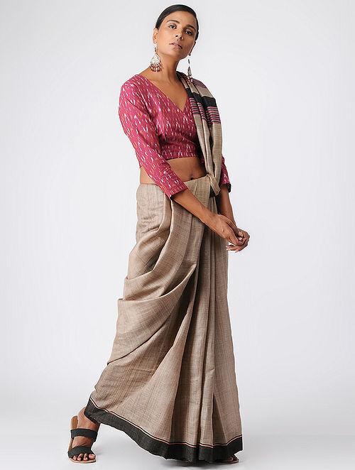 Pink Handloom Cotton Ikat Blouse by Jaypore
