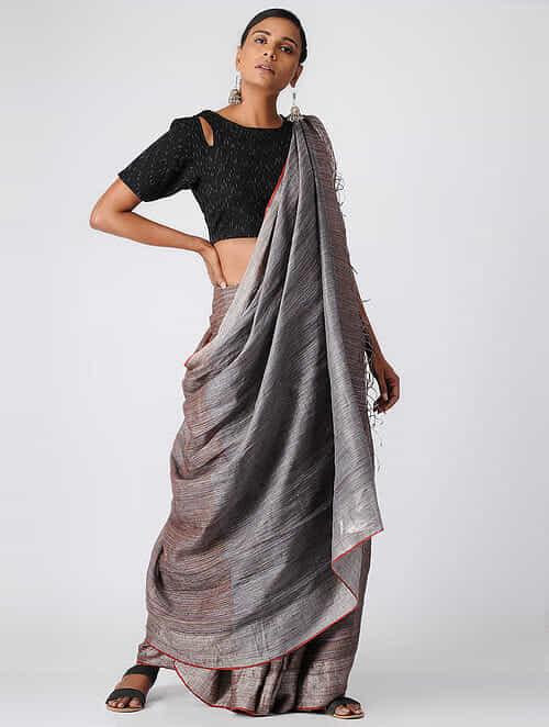 Black Handloom Cotton Ikat Blouse by Jaypore