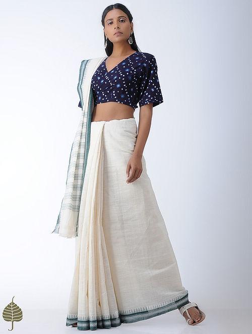 Indigo Tie-Up Bandhni Cotton Blouse by Jaypore