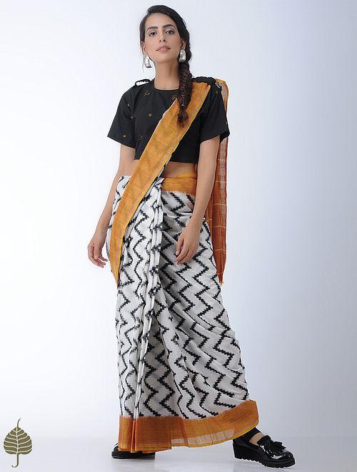 Black Bandhni Cotton Blouse by Jaypore