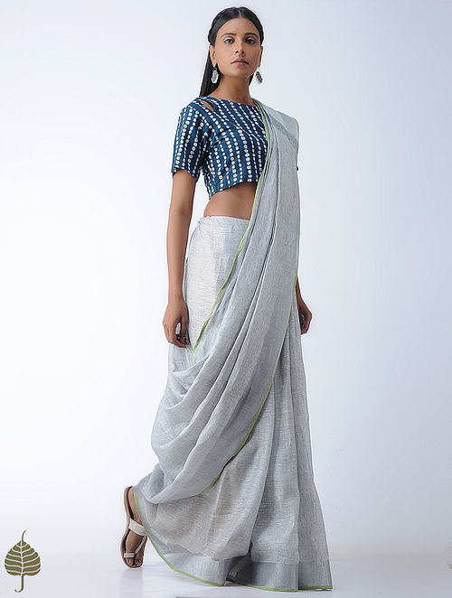 Indigo-Ivory Block-printed Cotton Blouse by Jaypore