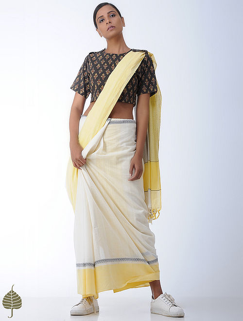 Charcoal-Yellow Ajrakh-printed Cotton Blouse by Jaypore