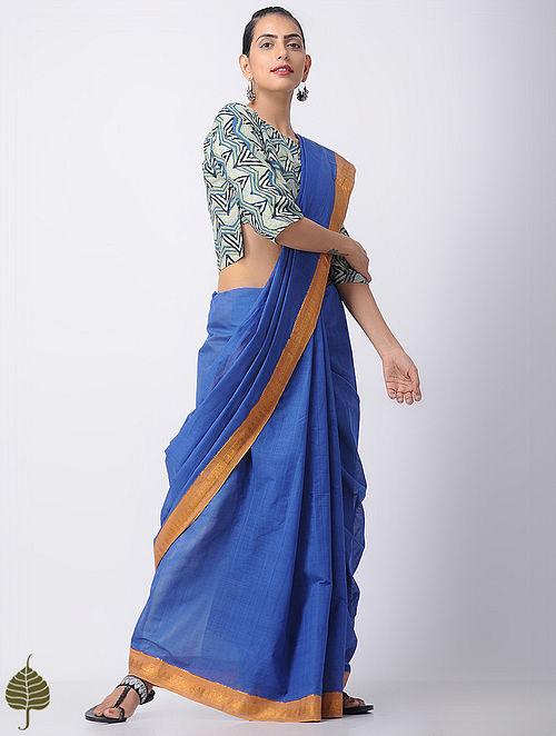 Indigo-Beige Ajrakh Cotton Blouse by Jaypore