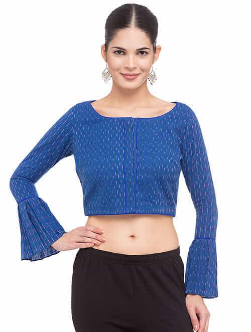 9febaabd511ed1 Buy Blue-Ivory Ikat Cotton Blouse Online at Jaypore.com