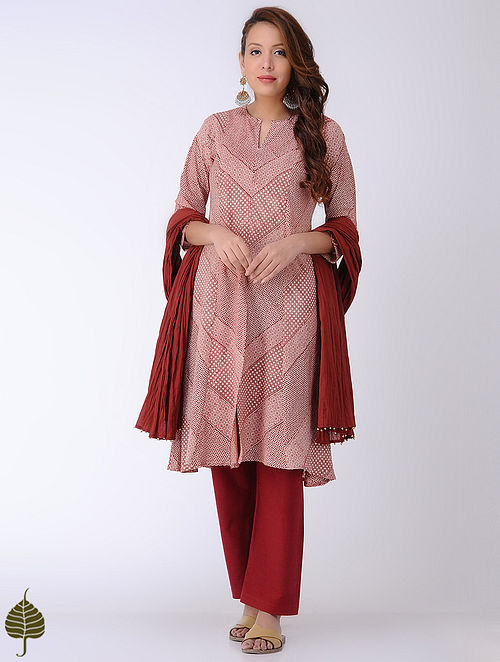 Ivory-Madder Bagh-printed Cotton Kurta by Jaypore