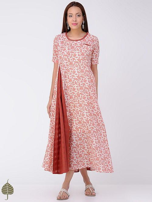 Red-Ivory Block-printed Cotton Dress by Jaypore