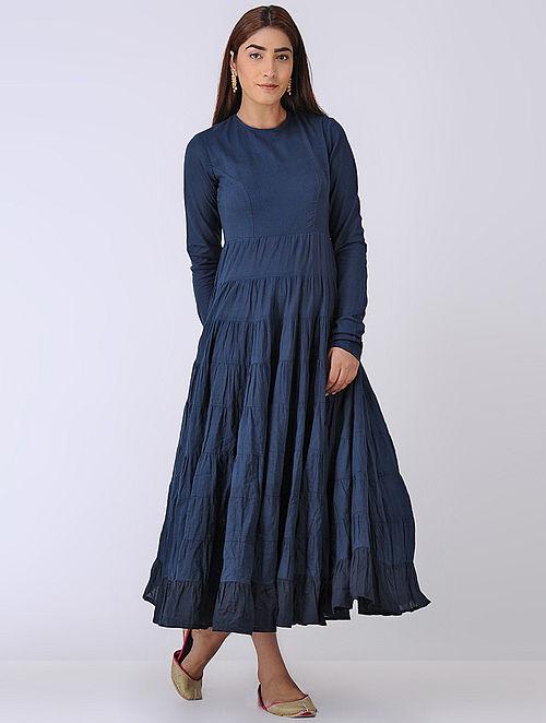 Navy Blue Crinkled Organic Cotton Dress