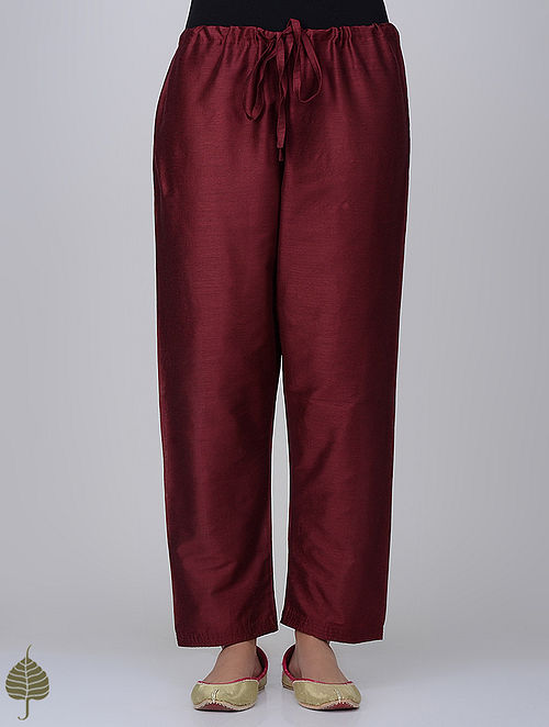 Maroon Tie-up Waist Cotton Silk Pants by Jaypore