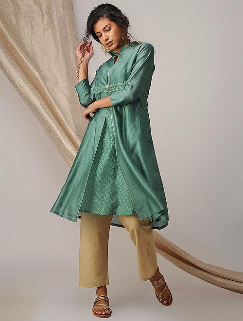 Green Silk Cotton Cutwork and Chanderi Kurta with Zari Detail