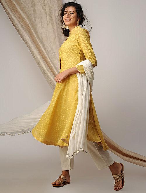 Yellow Silk Cotton Cutwork Kurta with Zari Border