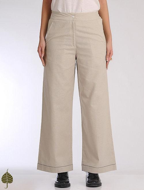Beige Elasticated Waist Linen Cotton Trousers by Jaypore