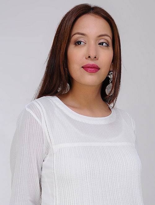 White Pintuck Cotton Dobby Kurta by Jaypore
