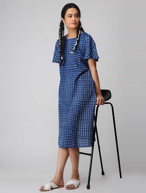 Blue-Ivory Handloom Cotton Ikat Dress with Pockets by Jaypore