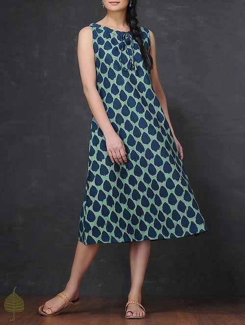 Indigo-Green Resist-Printed Front Tie-up Handloom Mangalgiri Cotton Dress