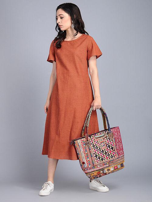 Rust Handloom Cotton Dress