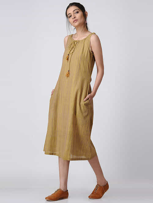 Mustard Handloom Cotton Dress with Pockets by Jaypore