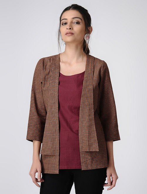 Brown-Maroon Handloom Cotton Jacket and Top by Jaypore (Set of 2)
