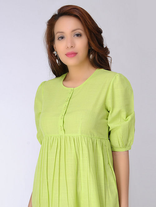 Green Cotton Dress with gathers by Jaypore