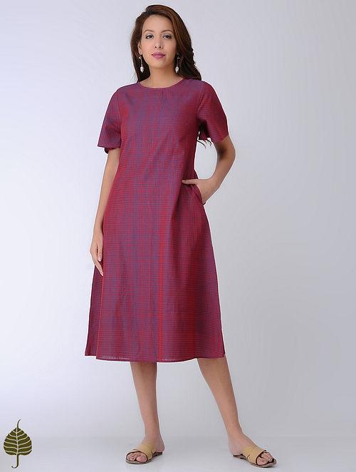 Blue-Red Handloom Cotton Dress by Jaypore