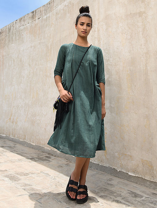 Green Handloom Cotton Dress with Pockets by Jaypore