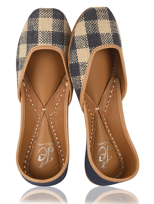 Blue-Beige Handcrafted Jute and Leather Juttis
