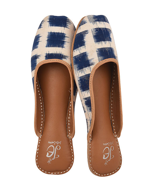98c00eb94 Buy Blue-White Handcrafted Ikat Printed Mojaris Online at Jaypore.com