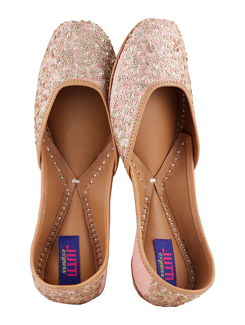 Peach Handcrafted Juttis with Sequence Work