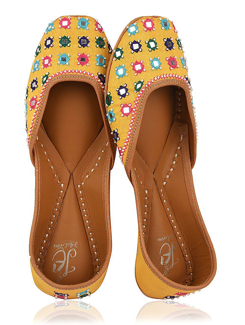 Yellow-Multicolored Handcrafted Silk Juttis with Mirrors