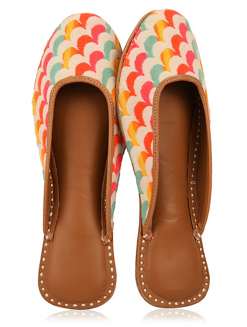 Multicolored Handcrafted Jacquard and Leather Mojaris