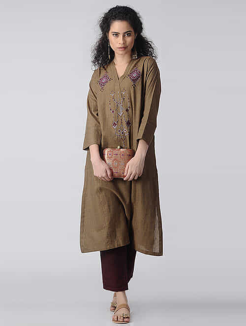 Brown-Maroon Embroidered Cotton Kurta by Jaypore