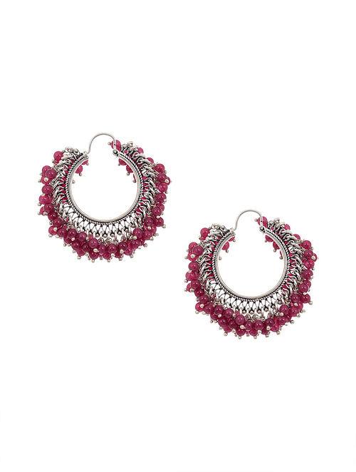 Maroon Tribal Silver Hoop Earrings