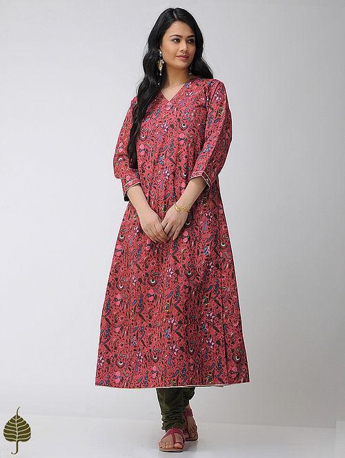 Red-Blue Block-printed V-neck Cotton Angrakha with Gota trim by Jaypore