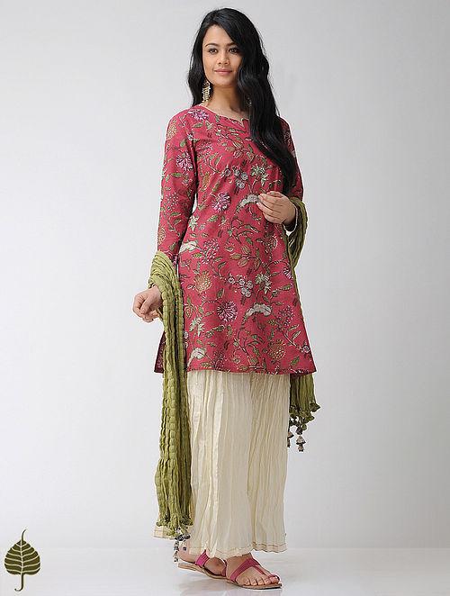 Red-Green Block-printed Cotton Kurta with Gota trim by Jaypore