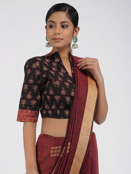 15c90e434e9e85 Buy Black-Red Block-printed Cotton Blouse Online at Jaypore.com