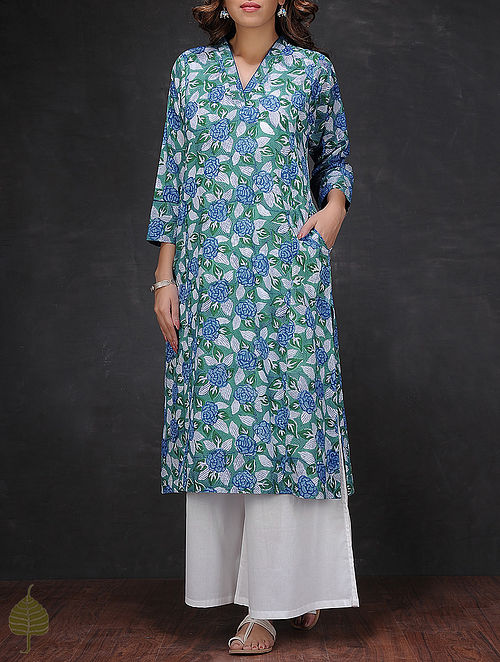 Green-Blue V-neck Block-printed Cotton Kurta by Jaypore