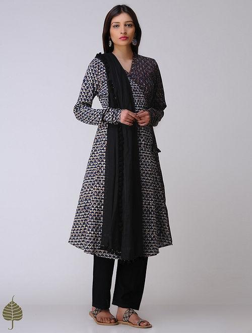 Indigo-Madder Dabu Cotton Angrakha by Jaypore