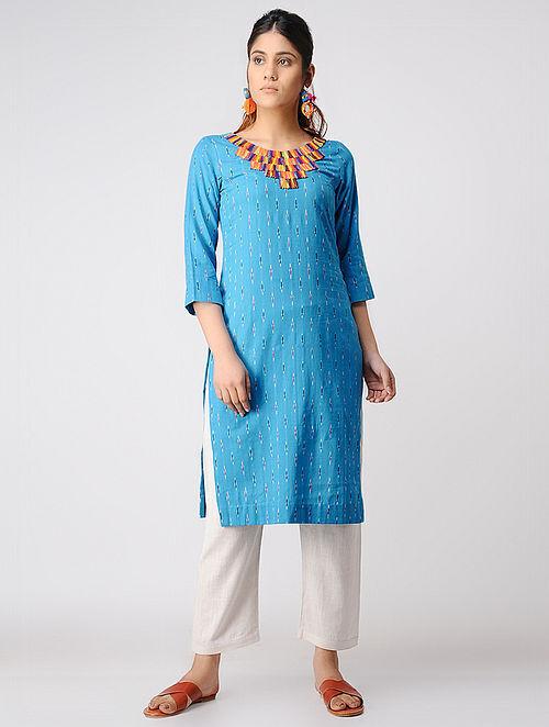 Turquoise Hand-embroidered Ikat Cotton Kurta