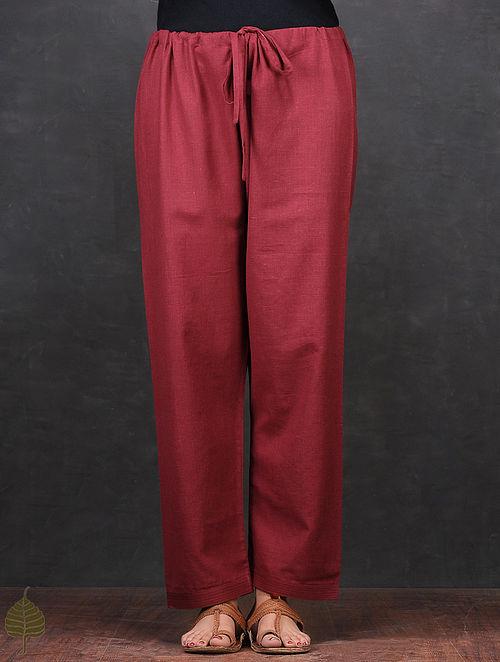 Maroon Tie-up Waist Cotton Pants by Jaypore