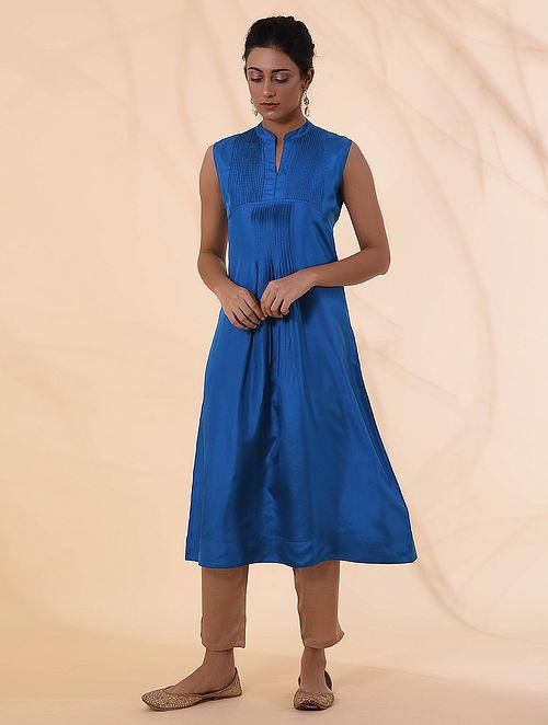 Blue Silk Kurta with Pintucks