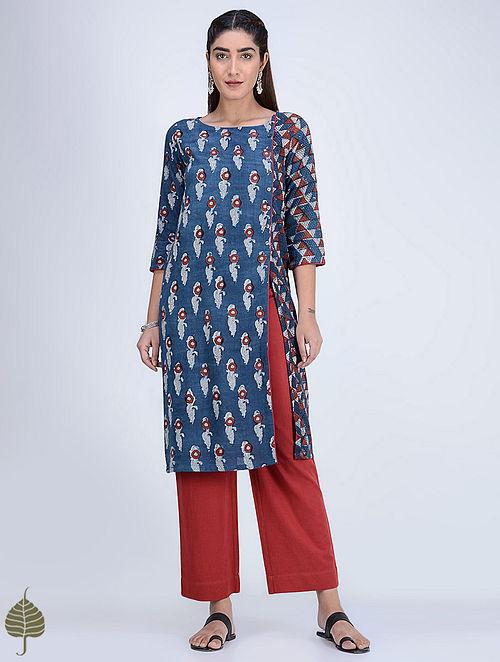Indigo-Madder Dabu-printed Cotton-Khadi Kurta with Side Slit by Jaypore