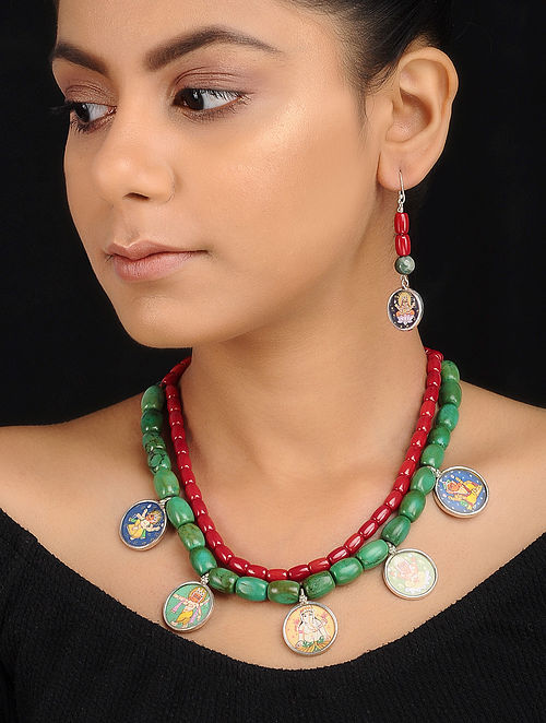 Turquoise-Coral Beaded Silver Necklace with Hand-painted Deity Motif and a Pair of Earrings (Set of 2)