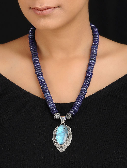 Lapis Lazuli and Moonstone Silver Necklace