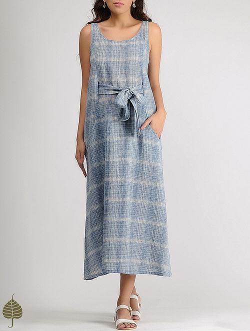 White-Blue Round Neck Organic Cotton Dress with Belt by Jaypore
