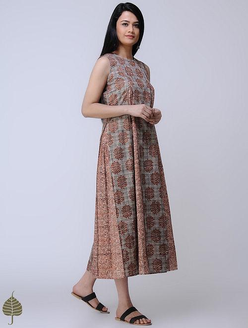 Beige-Madder Block-printed Cotton Dress by Jaypore