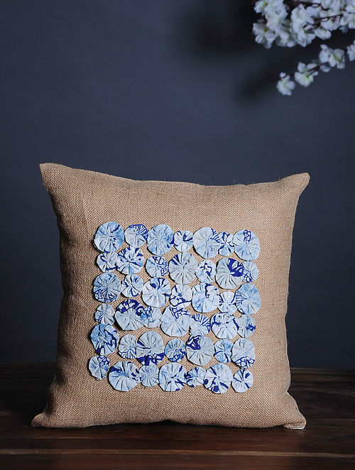 Beige-Multicolor Handmade Dori Embroidered Cotton Cushion Cover (15.5in x 15.5in)